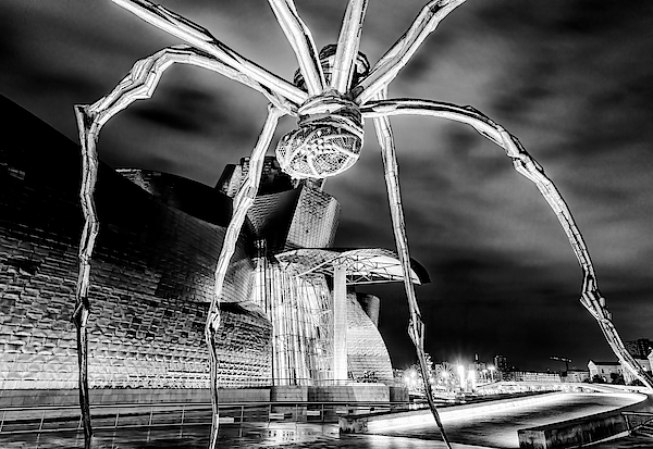 Guggenheim And Spider Bilbao Spain BW by Joan Carroll